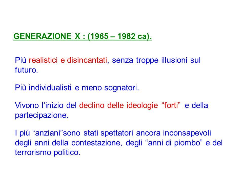 GENERAZIONE X : (1965 – 1982 ca). Più realistici e disincantati, senza troppe illusioni sul futuro.