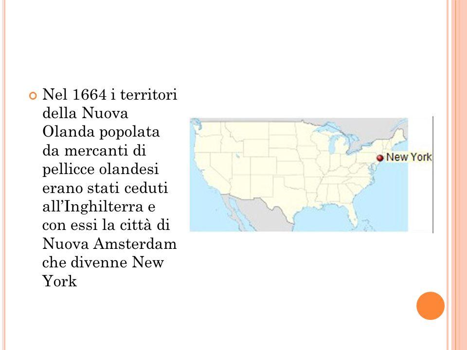 Nel 1664 i territori della Nuova Olanda popolata da mercanti di pellicce olandesi erano stati ceduti all'Inghilterra e con essi la città di Nuova Amsterdam che divenne New York