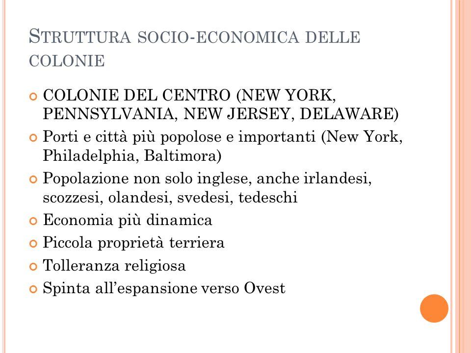 Struttura socio-economica delle colonie