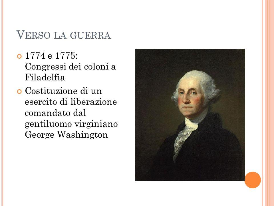 Verso la guerra 1774 e 1775: Congressi dei coloni a Filadelfia