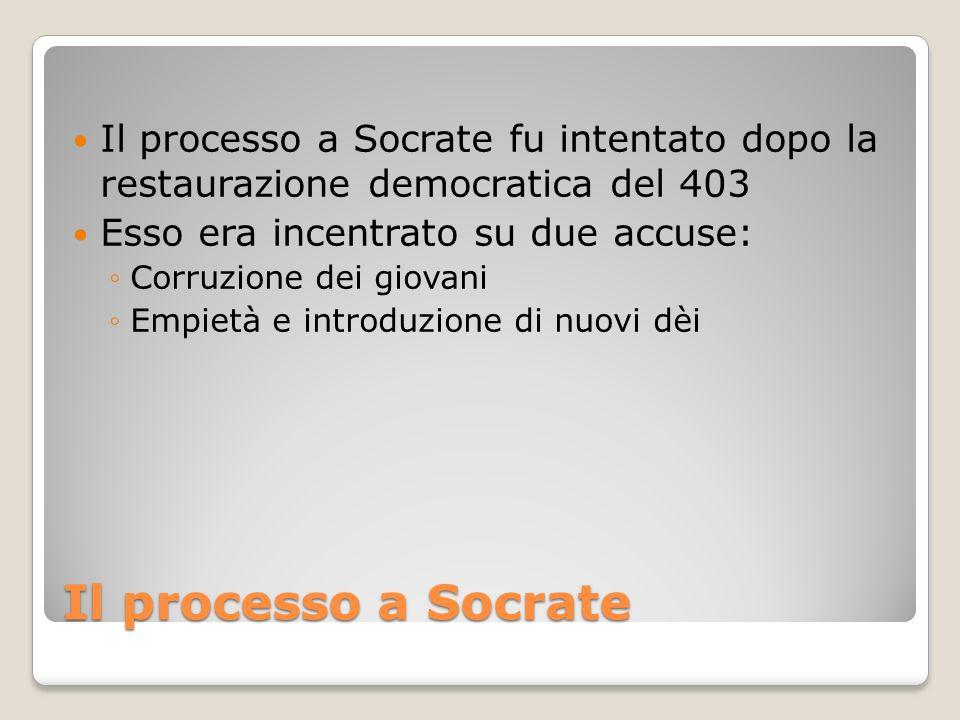 Il processo a Socrate fu intentato dopo la restaurazione democratica del 403