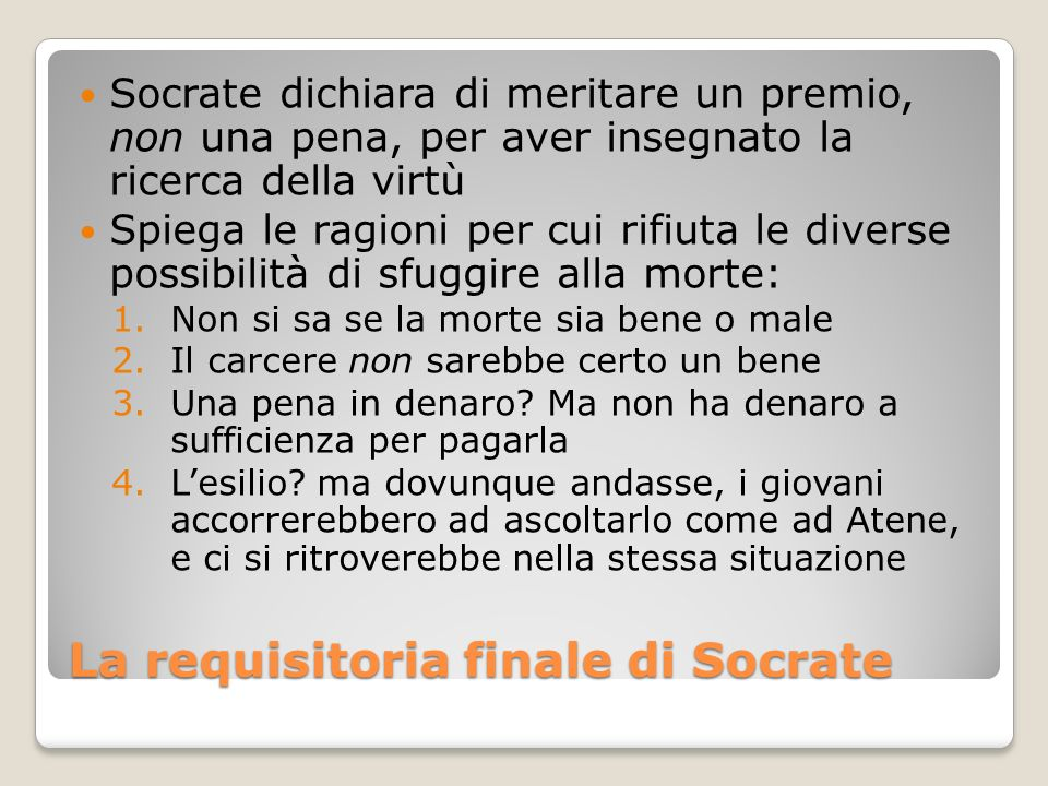 La requisitoria finale di Socrate