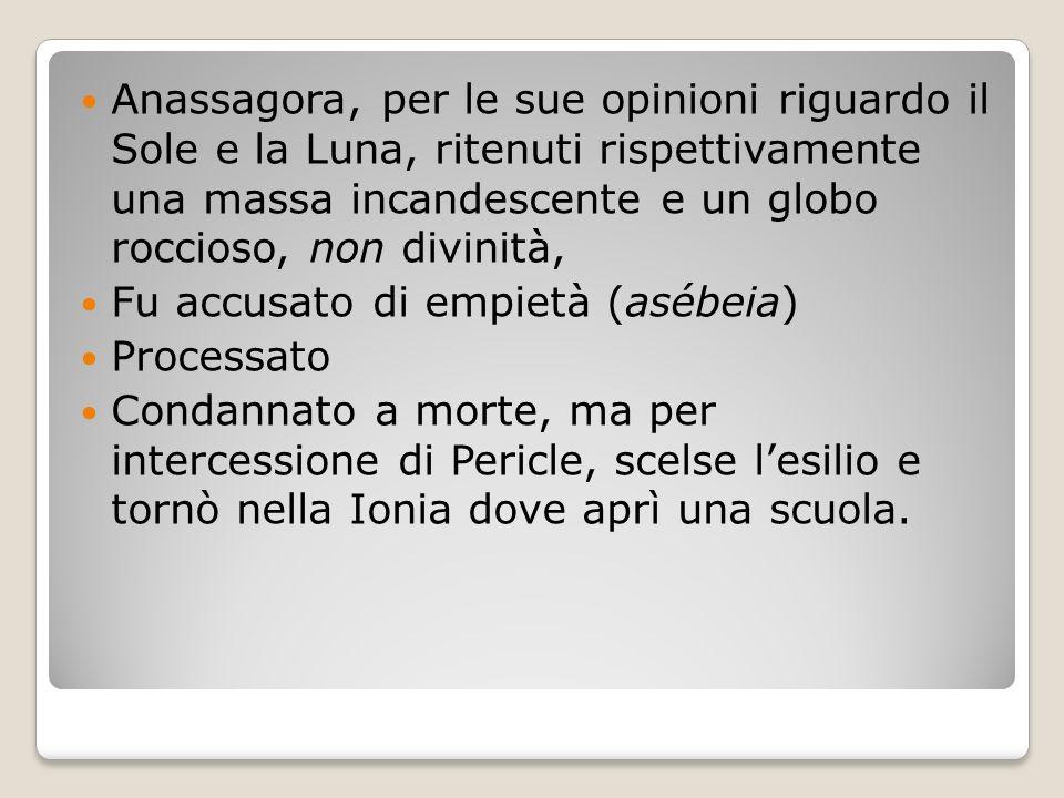 Anassagora, per le sue opinioni riguardo il Sole e la Luna, ritenuti rispettivamente una massa incandescente e un globo roccioso, non divinità,