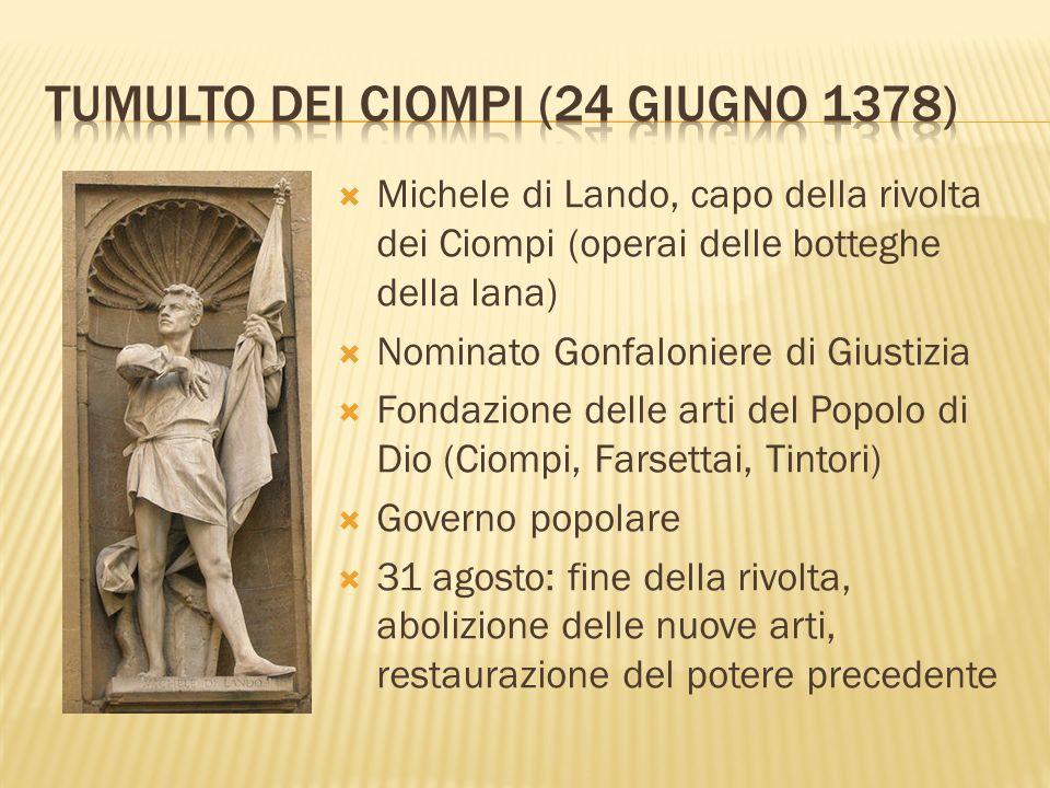 TUMULTO DEI CIOMPI (24 giugno 1378)