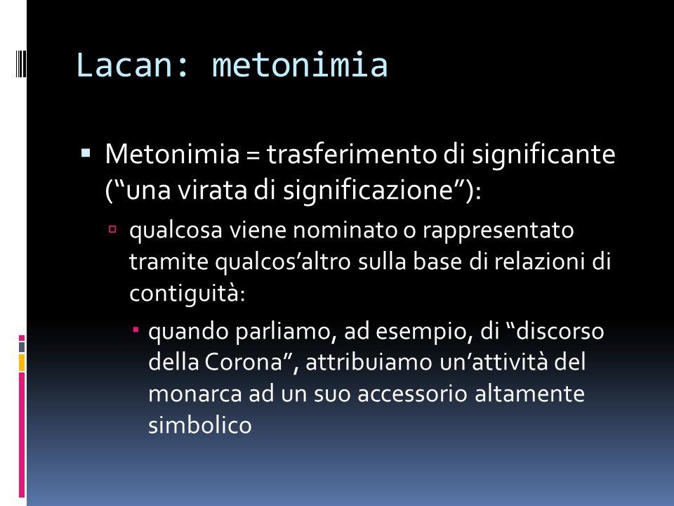 Lacan: metonimia Metonimia = trasferimento di significante ( una virata di significazione ):