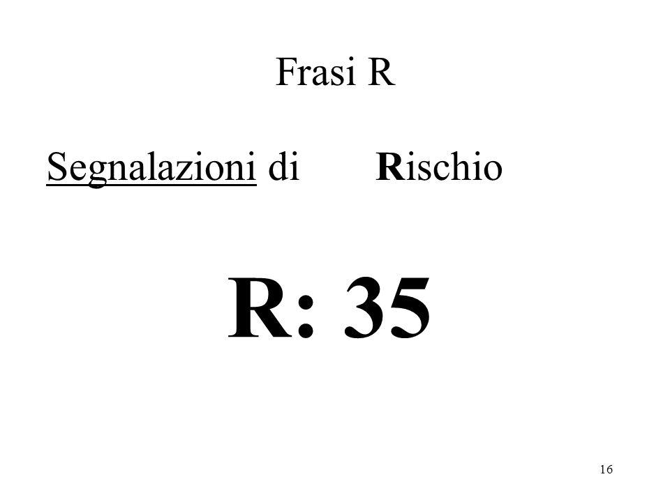 Frasi R Segnalazioni di Rischio R: 35
