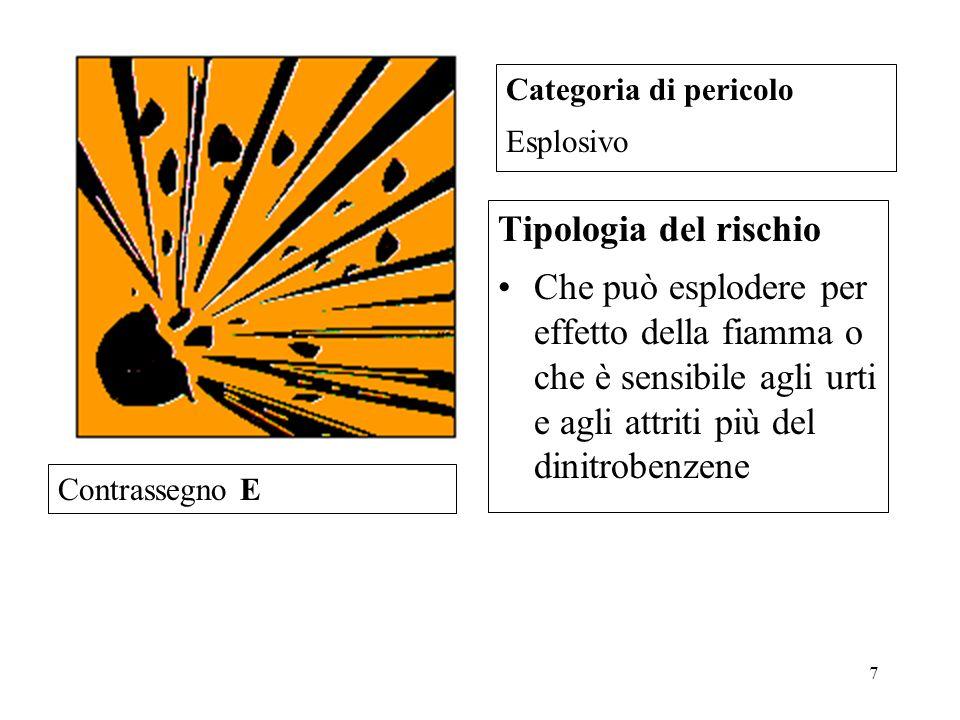 Categoria di pericolo Esplosivo. Tipologia del rischio.