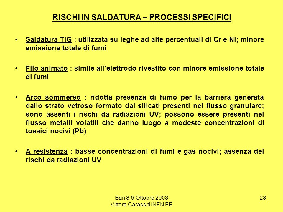 RISCHI IN SALDATURA – PROCESSI SPECIFICI