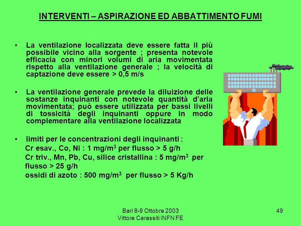 INTERVENTI – ASPIRAZIONE ED ABBATTIMENTO FUMI