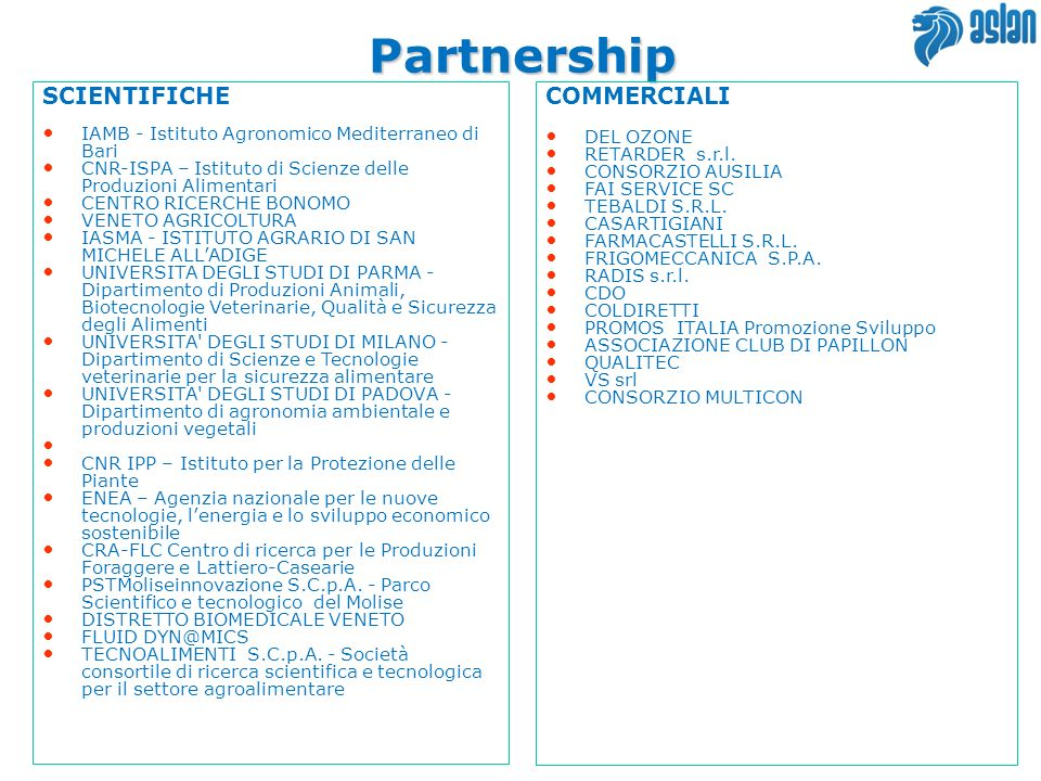 Partnership SCIENTIFICHE COMMERCIALI 14 14