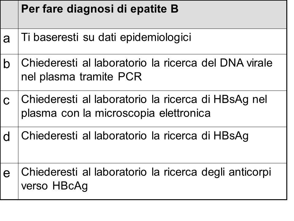 a b c d e Per fare diagnosi di epatite B