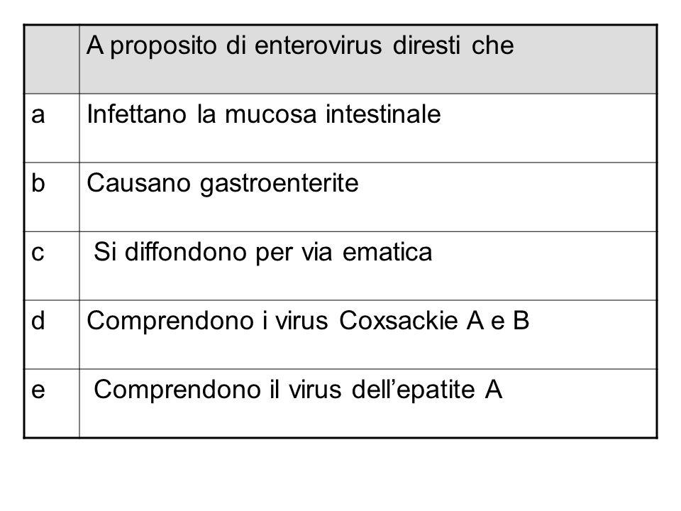 A proposito di enterovirus diresti che
