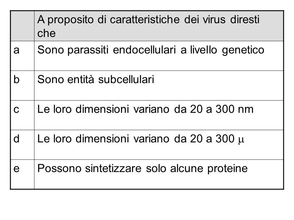 A proposito di caratteristiche dei virus diresti che