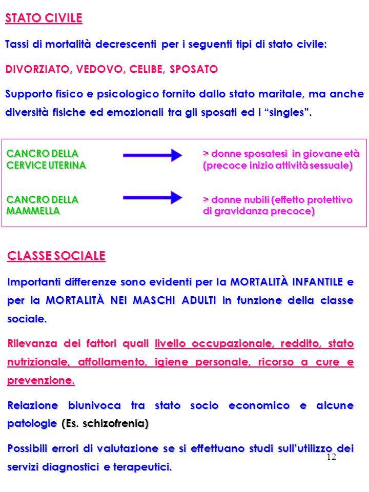 STATO CIVILE CLASSE SOCIALE
