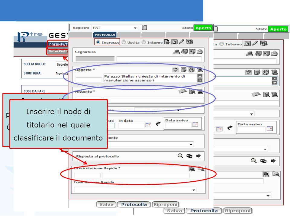 In automatico, il sistema si posiziona sul protocollo in ingresso.