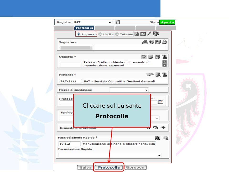 In automatico il sistema restituisce la segnatura di protocollo
