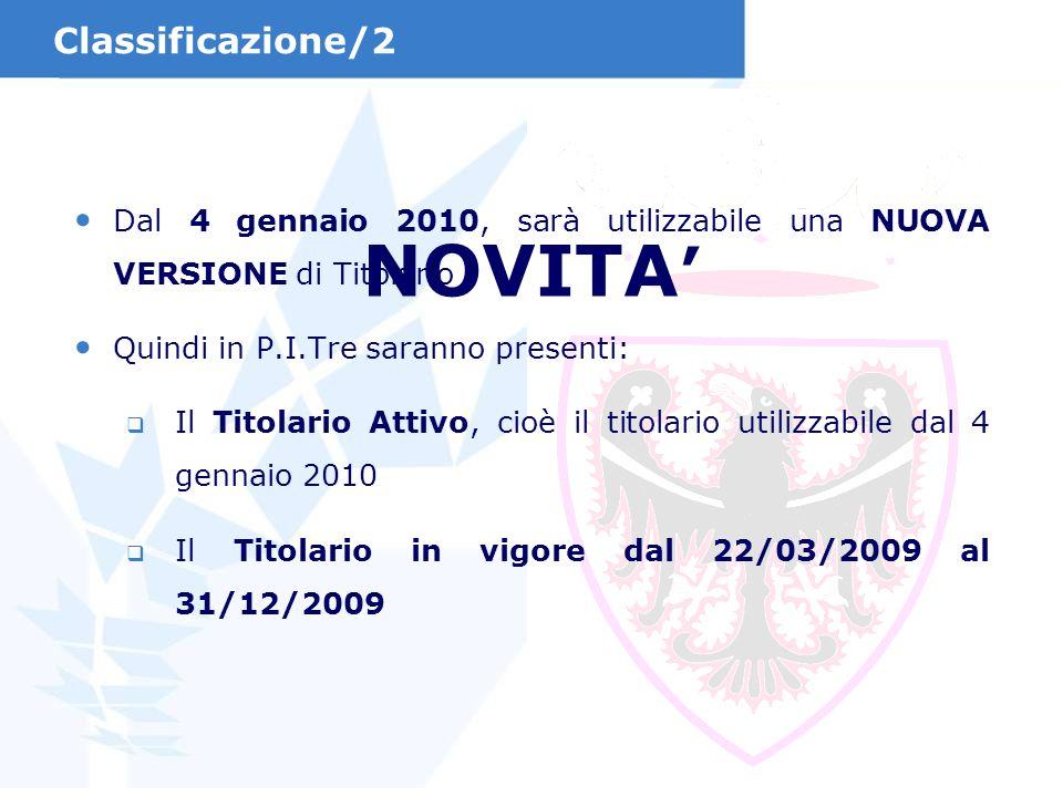 NOVITA' Classificazione/2