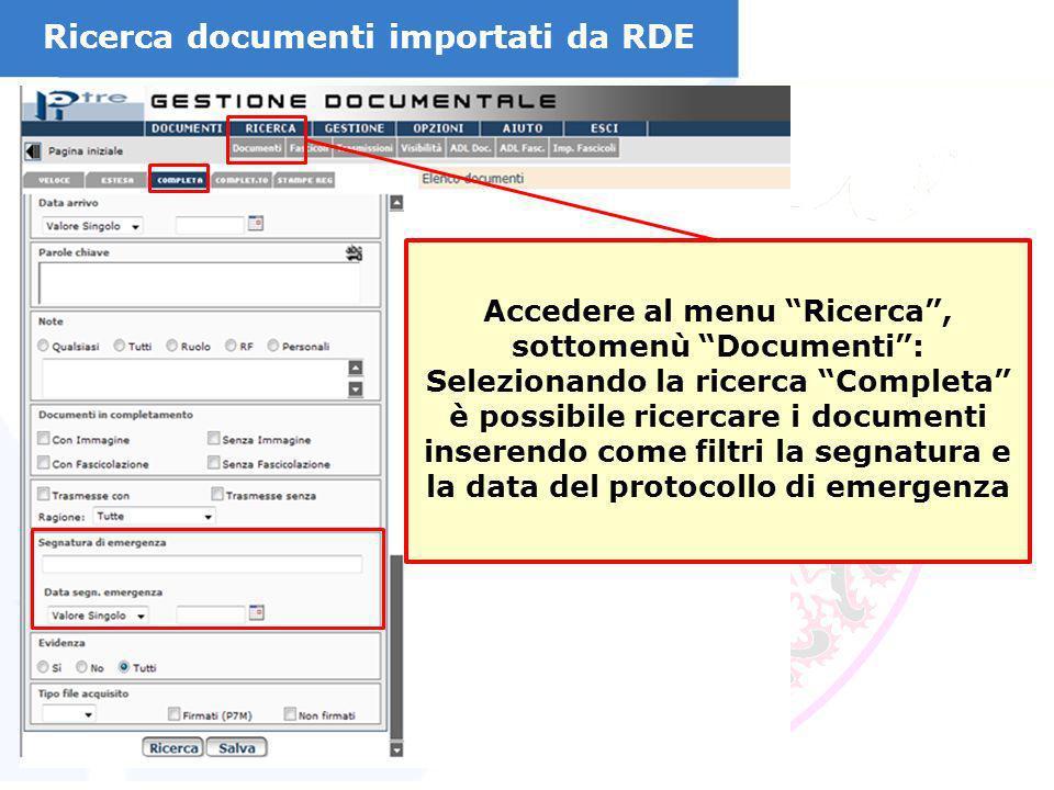 Ricerca documenti importati da RDE