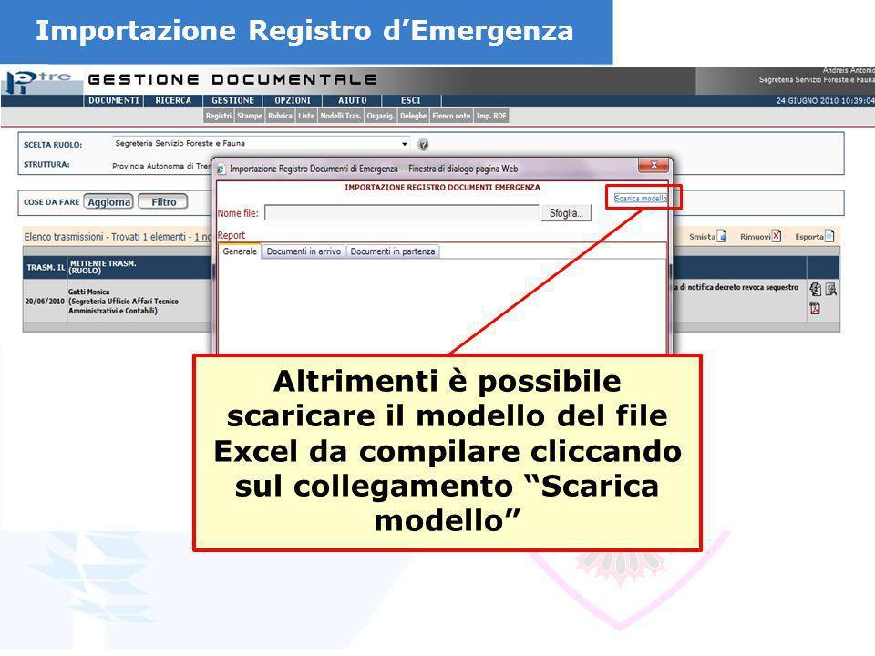 Importazione Registro d'Emergenza