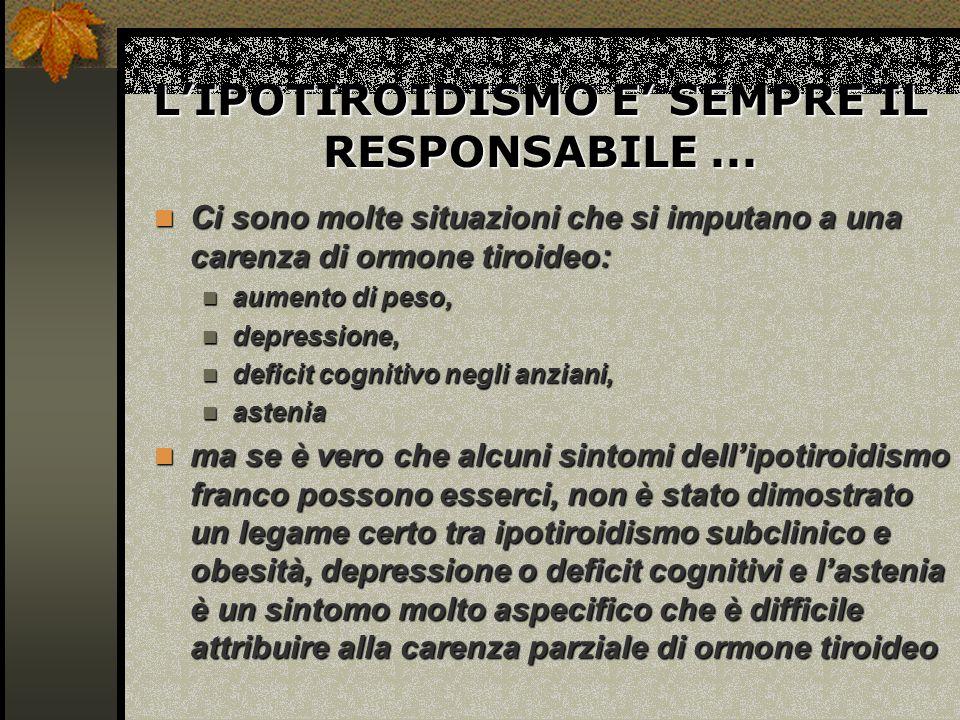 L'IPOTIROIDISMO E' SEMPRE IL RESPONSABILE ...