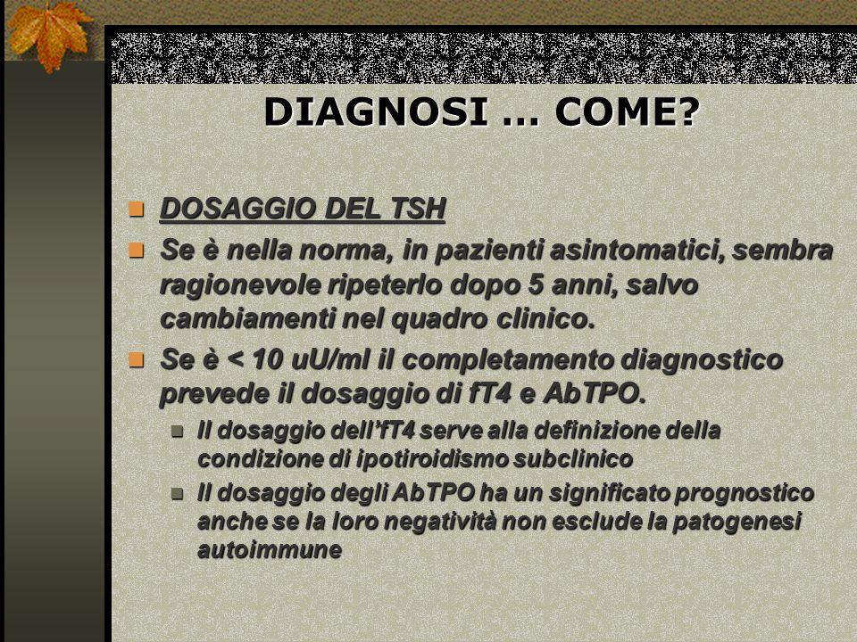DIAGNOSI … COME DOSAGGIO DEL TSH
