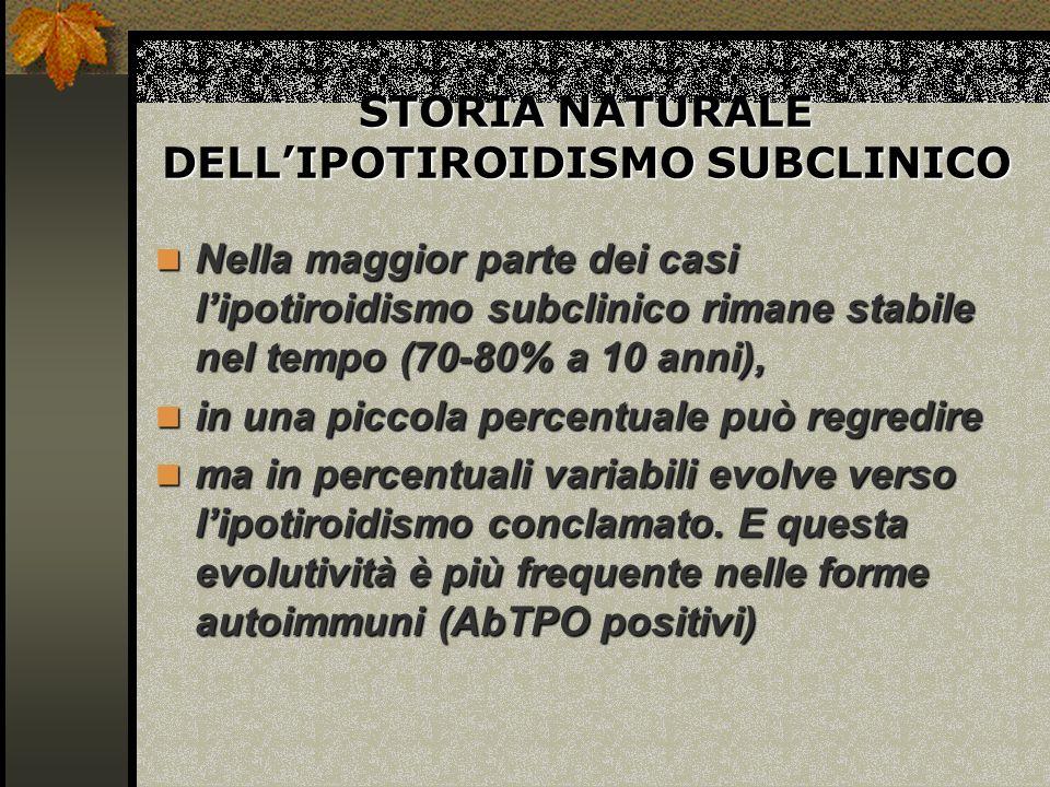STORIA NATURALE DELL'IPOTIROIDISMO SUBCLINICO