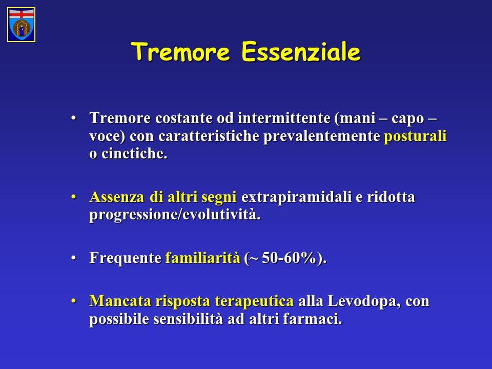 Tremore Essenziale Tremore costante od intermittente (mani – capo – voce) con caratteristiche prevalentemente posturali o cinetiche.