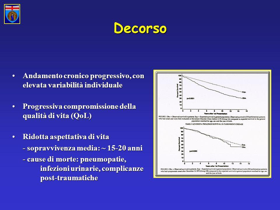 Decorso Andamento cronico progressivo, con elevata variabilità individuale. Progressiva compromissione della qualità di vita (QoL)