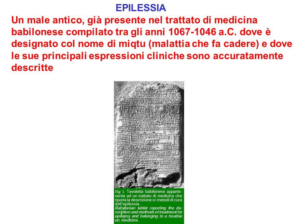 EPILESSIA Un male antico, già presente nel trattato di medicina babilonese compilato tra gli anni 1067-1046 a.C.