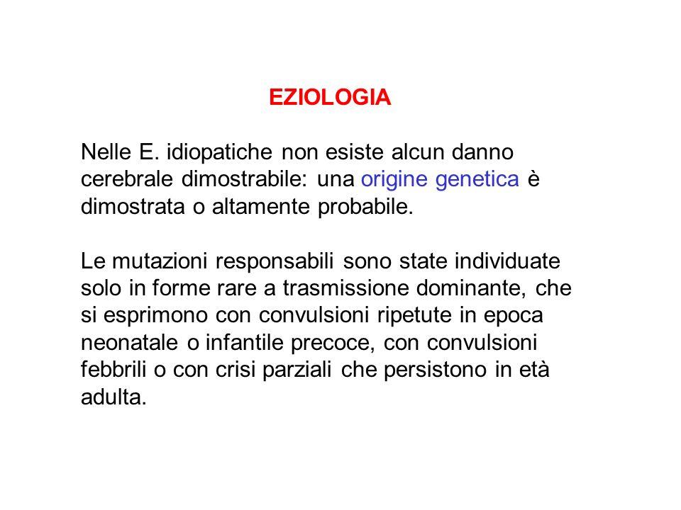 EZIOLOGIA Nelle E. idiopatiche non esiste alcun danno cerebrale dimostrabile: una origine genetica è dimostrata o altamente probabile.