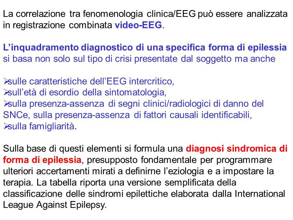 La correlazione tra fenomenologia clinica/EEG può essere analizzata in registrazione combinata video-EEG.