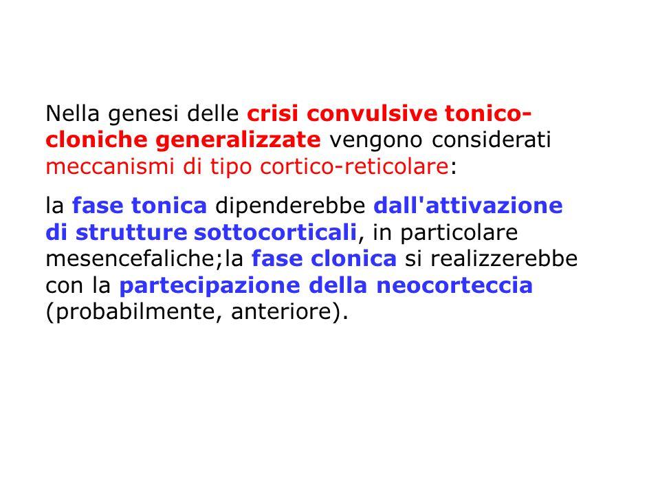 Nella genesi delle crisi convulsive tonico-cloniche generalizzate vengono considerati meccanismi di tipo cortico-reticolare: