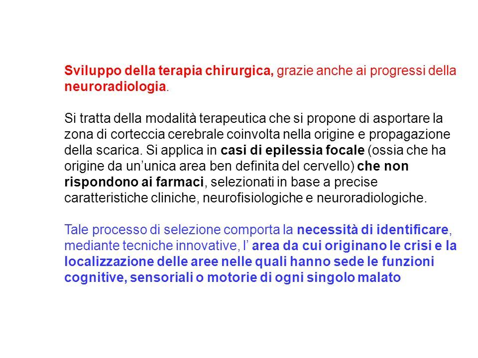 Sviluppo della terapia chirurgica, grazie anche ai progressi della neuroradiologia.