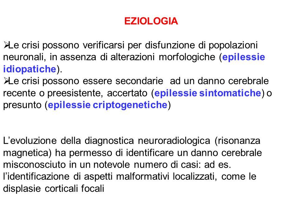 EZIOLOGIA Le crisi possono verificarsi per disfunzione di popolazioni neuronali, in assenza di alterazioni morfologiche (epilessie idiopatiche).