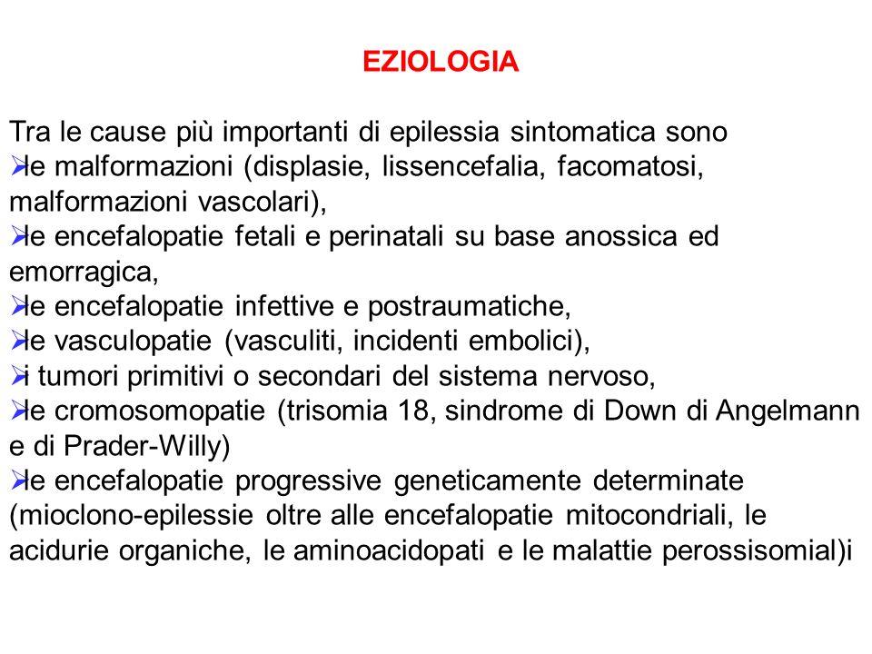 EZIOLOGIA Tra le cause più importanti di epilessia sintomatica sono.