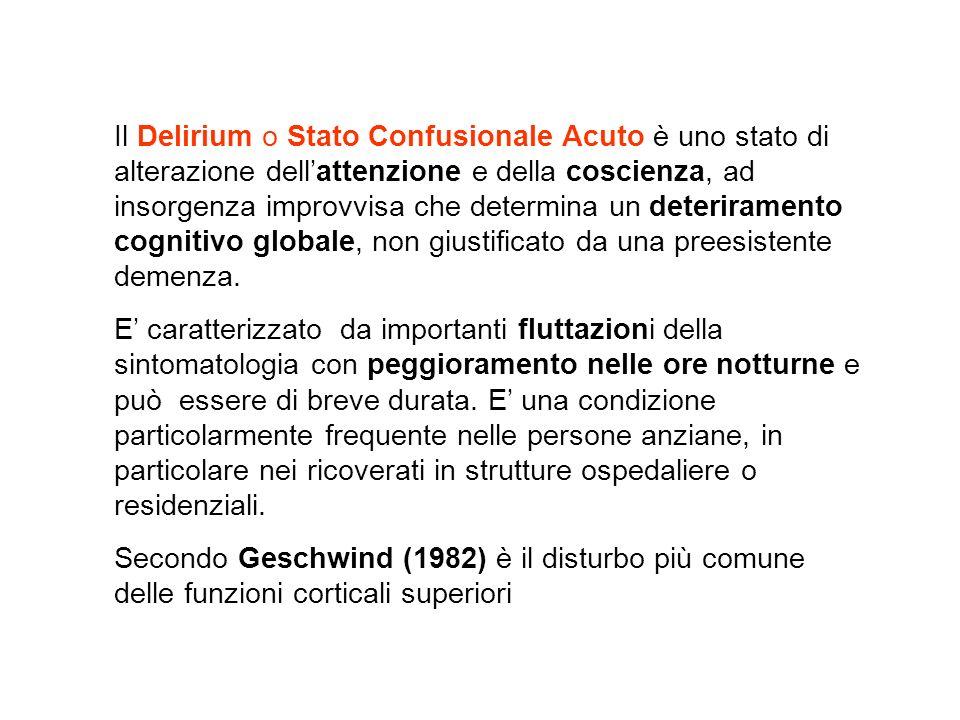 Il Delirium o Stato Confusionale Acuto è uno stato di alterazione dell'attenzione e della coscienza, ad insorgenza improvvisa che determina un deteriramento cognitivo globale, non giustificato da una preesistente demenza.