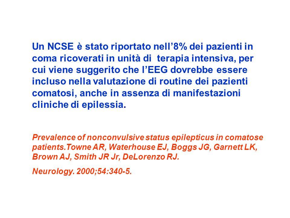 Un NCSE è stato riportato nell'8% dei pazienti in coma ricoverati in unità di terapia intensiva, per cui viene suggerito che l'EEG dovrebbe essere incluso nella valutazione di routine dei pazienti comatosi, anche in assenza di manifestazioni cliniche di epilessia.
