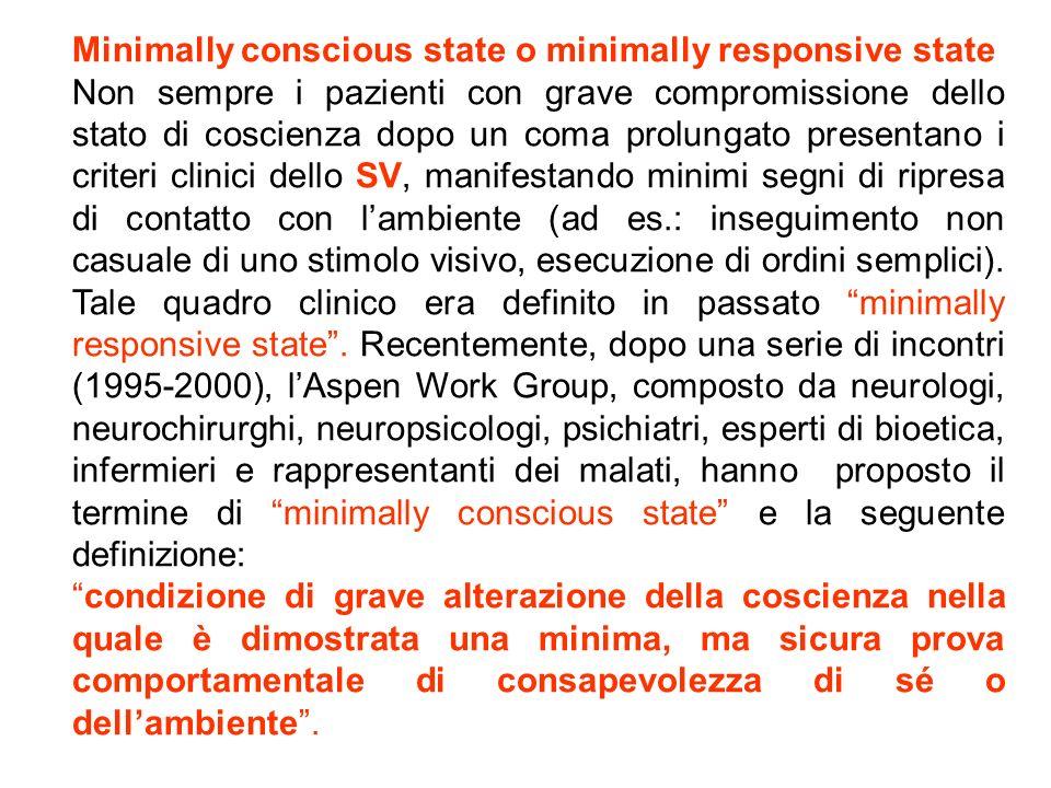 Minimally conscious state o minimally responsive state