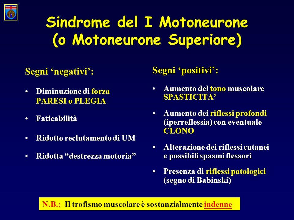 Sindrome del I Motoneurone (o Motoneurone Superiore)