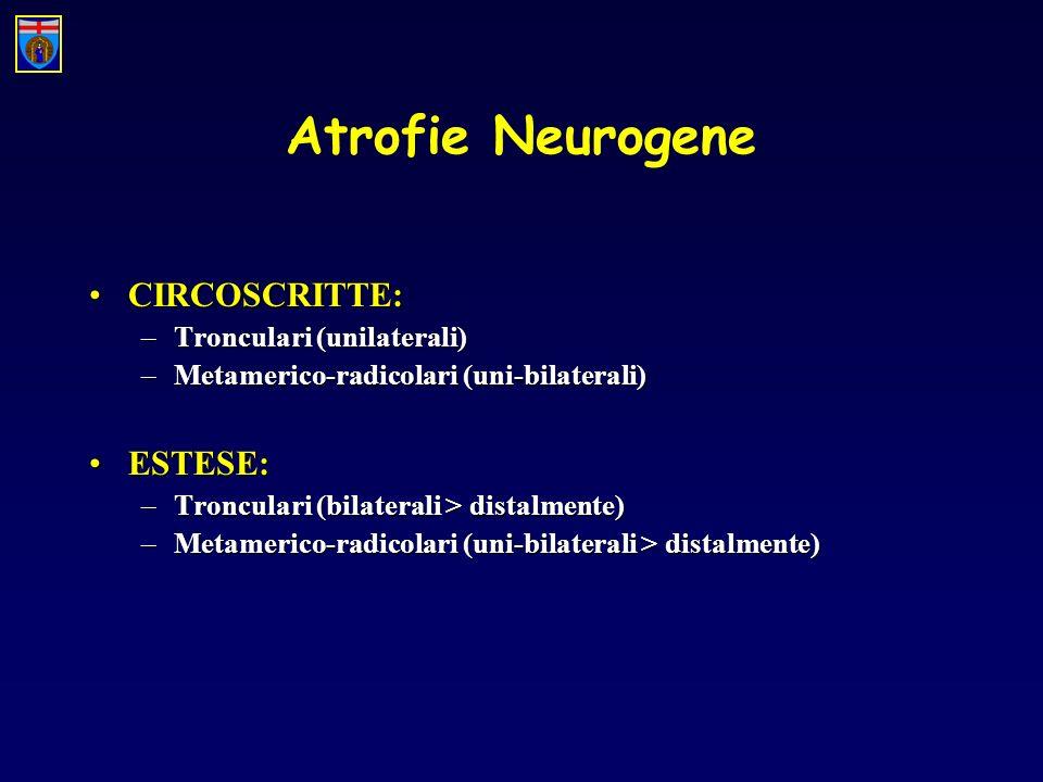 Atrofie Neurogene CIRCOSCRITTE: ESTESE: Tronculari (unilaterali)