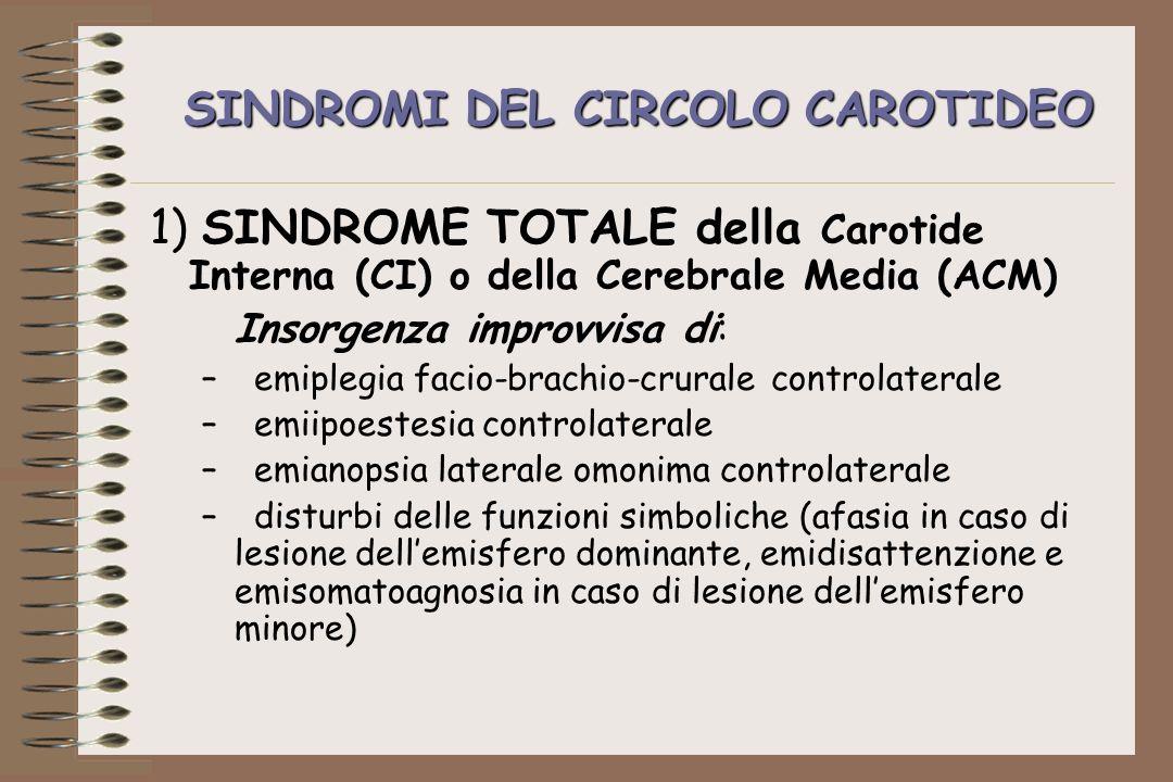 SINDROMI DEL CIRCOLO CAROTIDEO