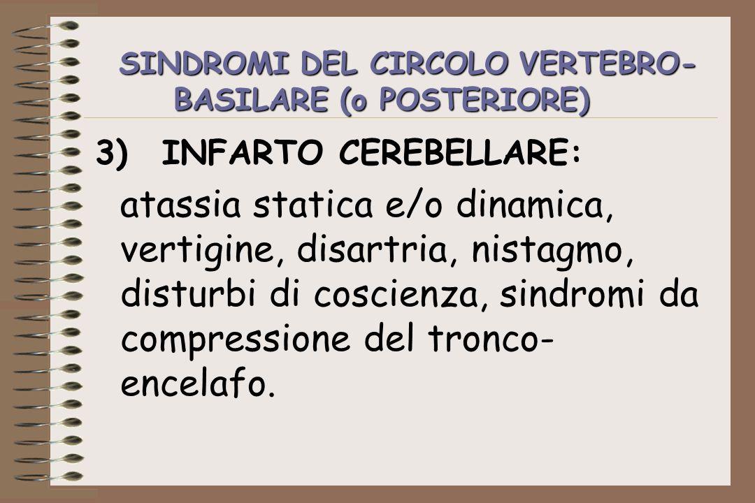SINDROMI DEL CIRCOLO VERTEBRO-BASILARE (o POSTERIORE)