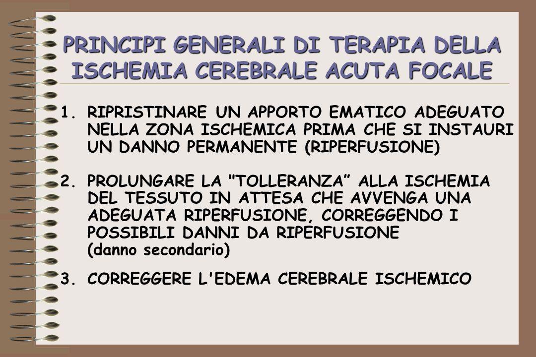 PRINCIPI GENERALI DI TERAPIA DELLA ISCHEMIA CEREBRALE ACUTA FOCALE