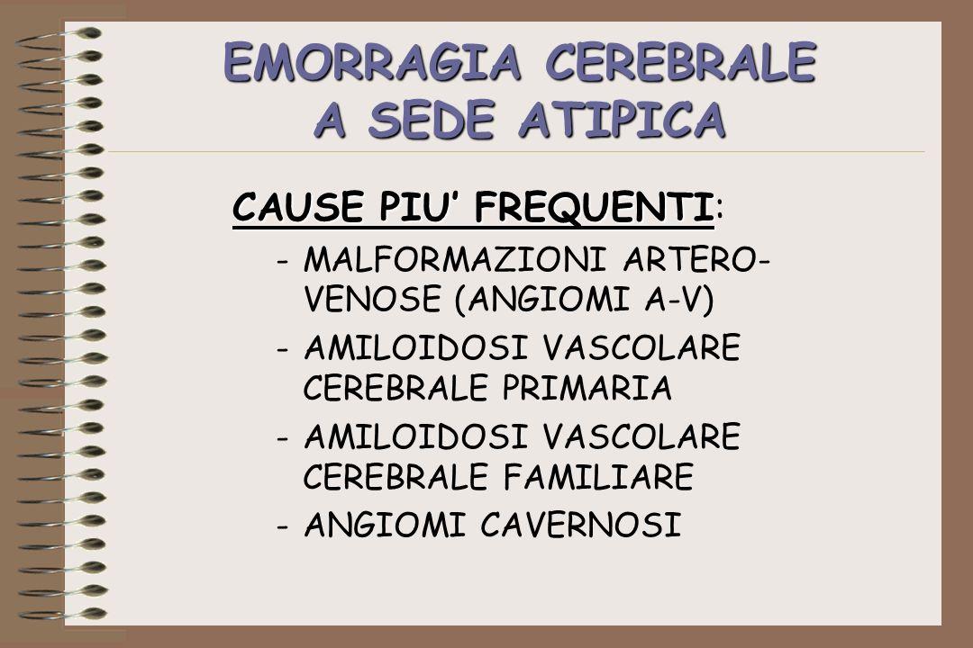 EMORRAGIA CEREBRALE A SEDE ATIPICA