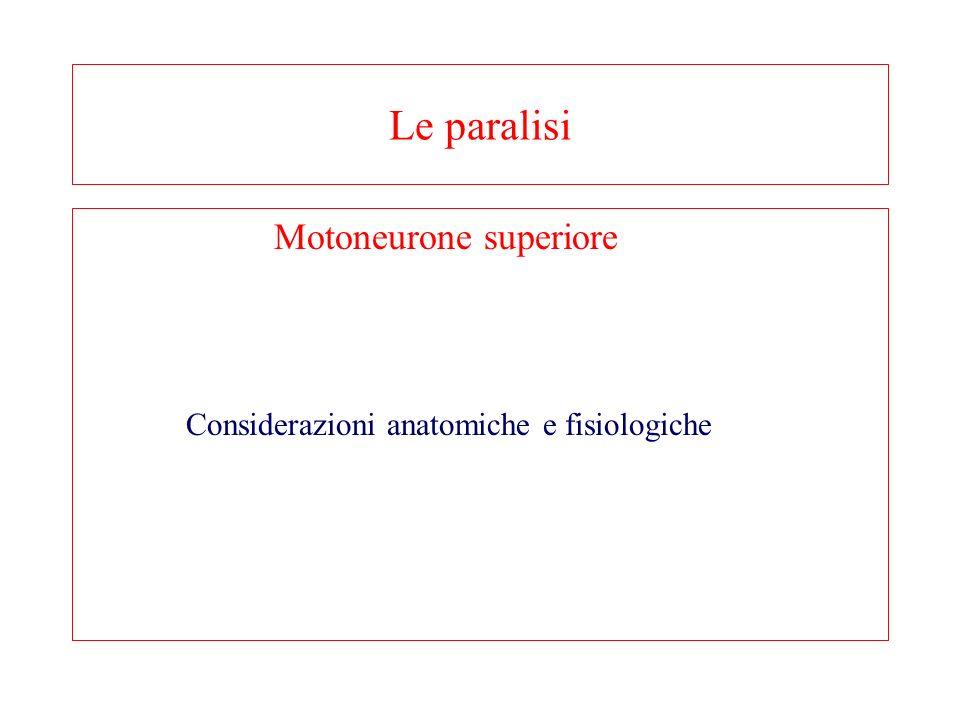 Le paralisi Motoneurone superiore