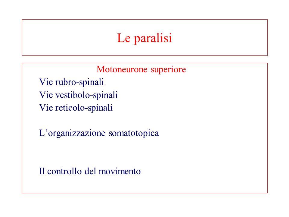 Le paralisi Vie rubro-spinali Vie vestibolo-spinali