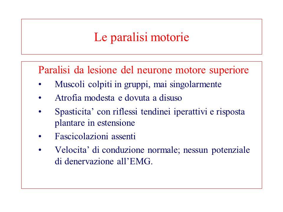 Le paralisi motorie Paralisi da lesione del neurone motore superiore