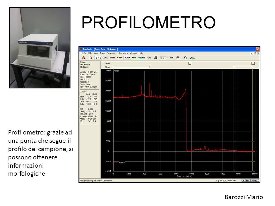 PROFILOMETRO Profilometro: grazie ad una punta che segue il profilo del campione, si possono ottenere informazioni morfologiche.