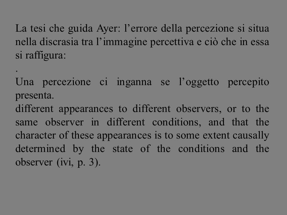 La tesi che guida Ayer: l'errore della percezione si situa nella discrasia tra l'immagine percettiva e ciò che in essa si raffigura: