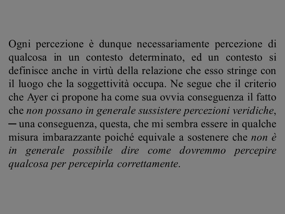 Ogni percezione è dunque necessariamente percezione di qualcosa in un contesto determinato, ed un contesto si definisce anche in virtù della relazione che esso stringe con il luogo che la soggettività occupa.